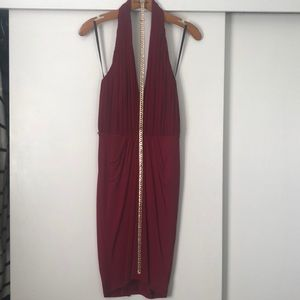 Bebe red dress with gold belt